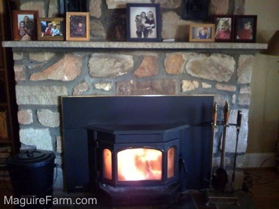 A Fire is blazing in a wood burning stove